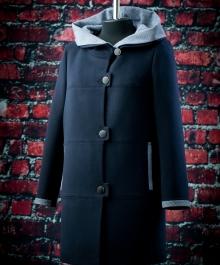 Сальма демисезонное пальто (синий + клетка)